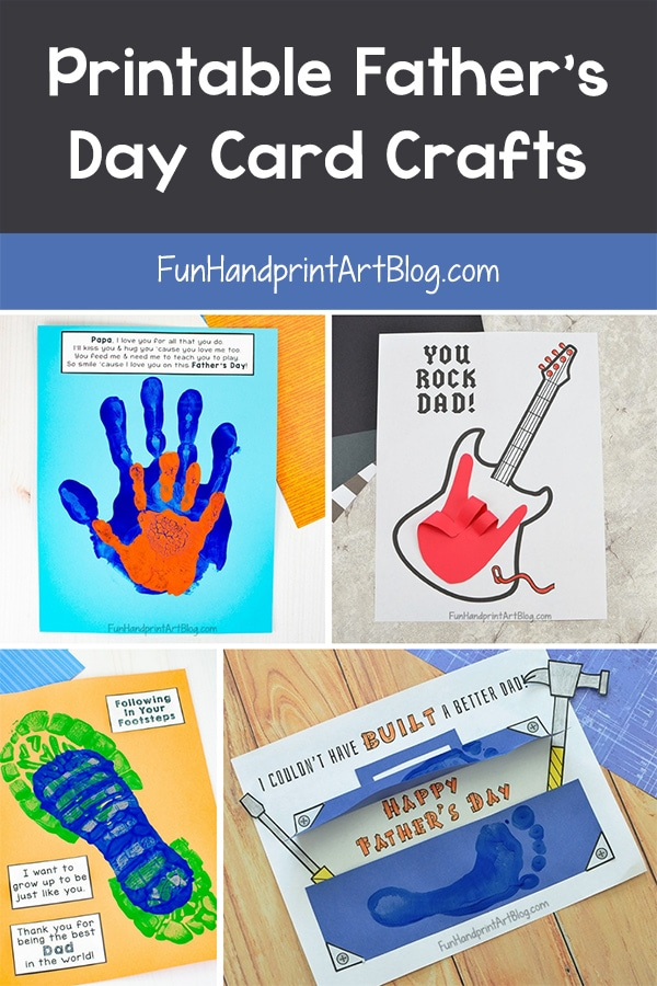 3 Father's Day Card Crafts made with handprints, footprints, & printable sayings